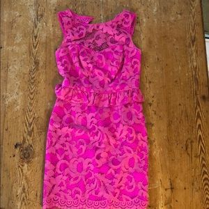 Hot pink, lace, peplum, Lilly Pulitzer dress